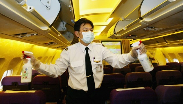 грязное место в самолете