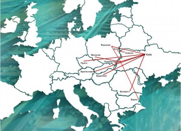 Карта международных поездов из Украины